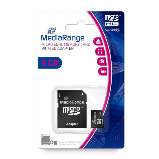 MediaRange Micro SDHC Class 10 With SD Adaptor 8 GB (High Capacity) (MR957)