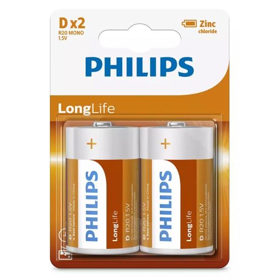 PHILIPS LongLife Zinq chloride μπαταρίες R20L2B/10, R20 1.5V, 2τμχ